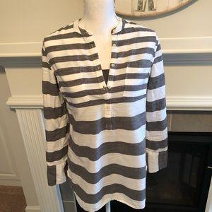 Merona Medium Gray and White Striped Tunic